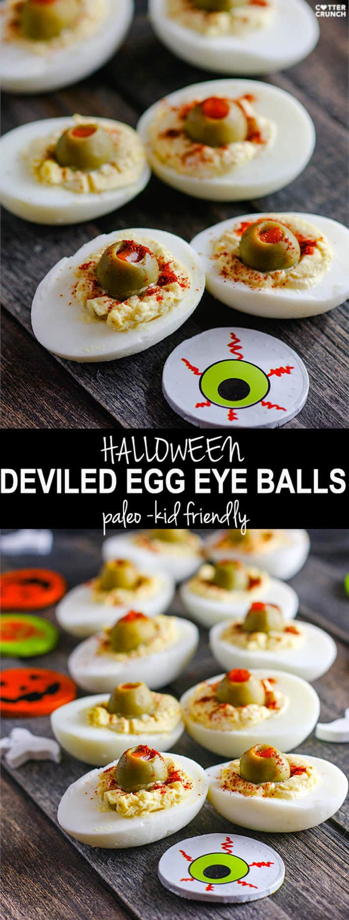 This tasty appetizer is commonly known, but my version is spooky for Halloween. Deviled eggs made to look like blood shot eyeballs! All you need are green olives, spices, eggs, and your favorite paleo condiment to mix in! Deviled egg eyeballs a favorite with the kids (and adults) at Halloween parties but also easy to make and healthy! Recipe – http://bit.ly/eggeyeball