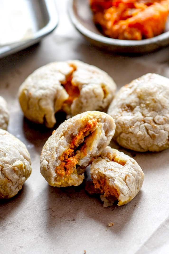 Healthy Pumpkin Stuffed Dough Balls;
