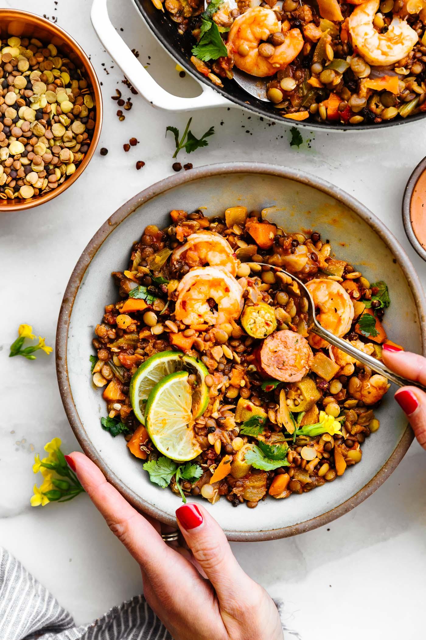bowl of jambalaya with lentils