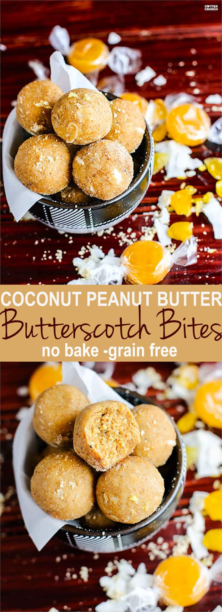 """Grain Free no bake coconut peanut butter butterscotch bites! These healthy energy bites are easy to make and made with natural ingredients! They are the perfect butterscotch """"candy"""" snack for Holiday parties. Make as a dessert, travel food, or just for satisfying a serious sugar craving! Gluten free and Vegan friendly."""