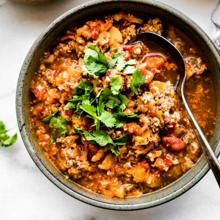 bowl of paleo sweet potato chili made in a crock pot