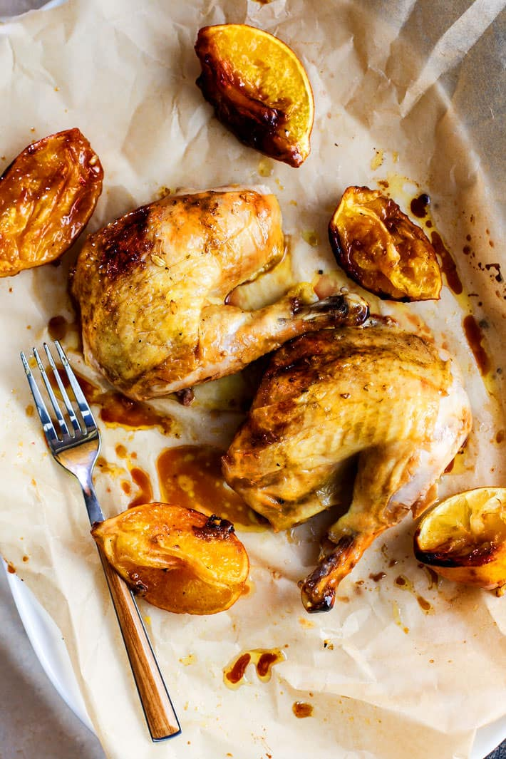 An easy chicken meal liked by all! Gluten free One-pot Orange Honey Garlic Roasted Chicken. The sweet and savory orange sauces makes this roasted chicken so moist and flavorful. It's easy to make in the dutch oven and a great dish to make for holidays too. Paleo and dairy free!