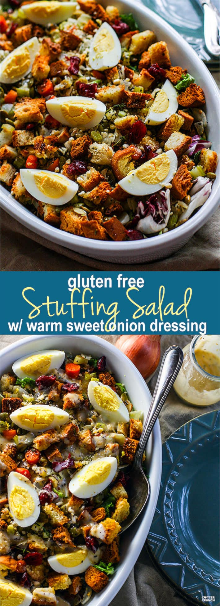 Gluten Free Stuffing Salad with Sweet Onion Dressing! A Gluten Free Stuffing recipe with a twist! This easy Holiday side dish combines the comfort food of traditional stuffing with a healthy winter salad! All tossed together in no time and served with a warm sweet onion dressing. Light and flavorful, but still a way to enjoy a classic holiday side dish