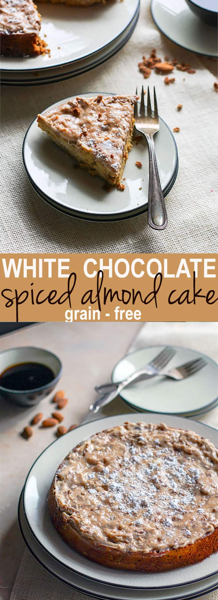 Grain Free White Chocolate Spiced Almond Cake! A healthy holiday twist on the classic almond cake! Cinnamon Spiced almond cake with melted white chocolate and a cinnamon cream cheese topping.Taste so decadent but is actually pretty healthy and easy to make. A perfect moist cake recipe for those looking to enjoy gluten free desserts. Really! Go ahead, enjoy!