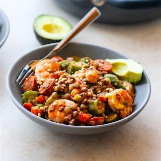 Lentil Shrimp Jamabalaya Power Bowls