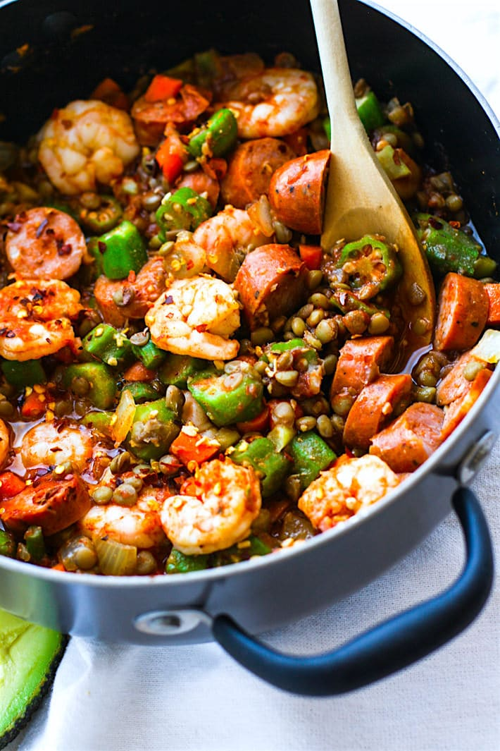 Grain-Free Shrimp Jambalaya with Lentils
