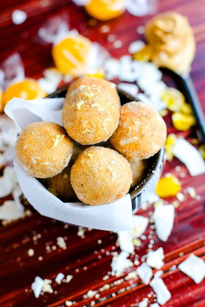 Grain Free no bake coconut peanut butter butterscotch bites! Energy/dessert bites that taste like butterscotch candy! Simple healthy ingredients!