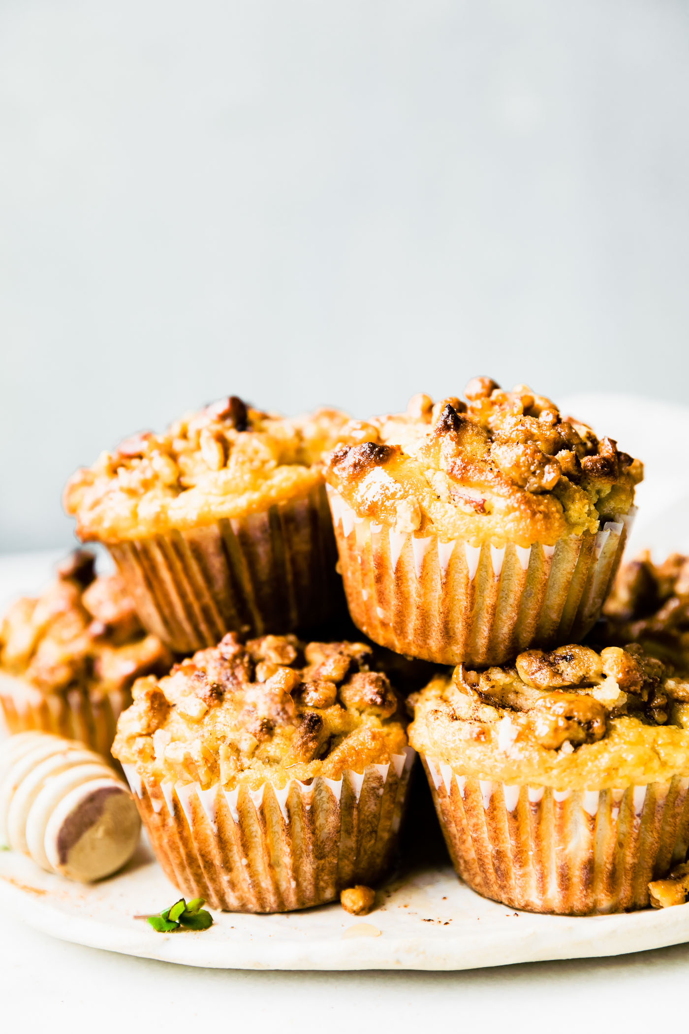 pear nut muffins stacked
