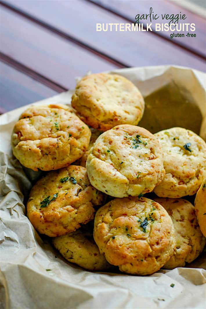 Easy Homemade Gluten Free Buttermilk Biscuits! These gluten free buttermilk biscuits are so delicious, healthy, and packed with extra veggies for great texture and taste. A great way to sneak in more vegetables to your diet without even knowing. Simple to make, ready in 30 minutes, and a total crowd pleaser for both gluten free and non gluten free eaters! Egg free, Yeast Free.