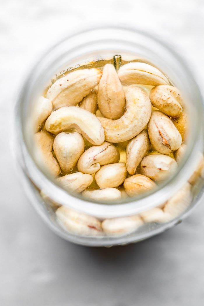 cashews for cashew cream sauce. Soaking.