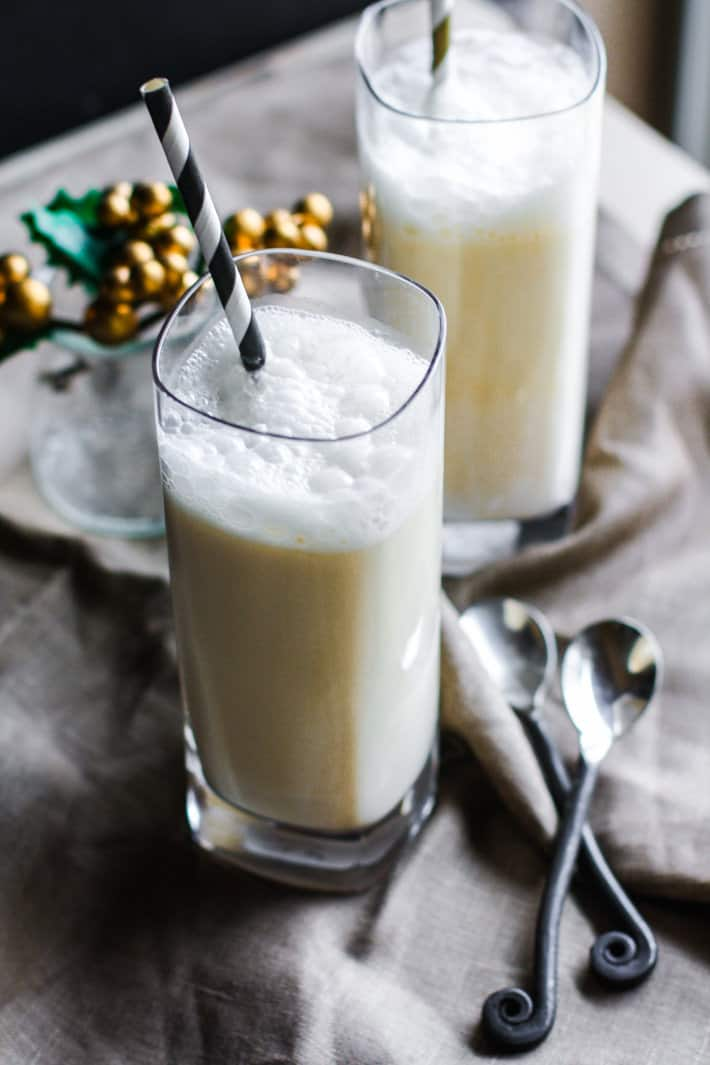 Healthy Coconut Milk Eggnog Steamers {Dairy Free}