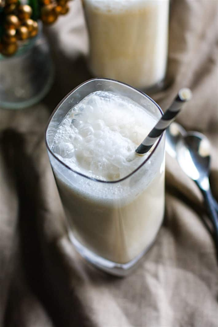 Healthy Coconut Milk Eggnog Steamers! This dairy free eggnog drink is quick to make, single serve or for multiple, full of good nutrients, naturally sweetened, and super delicious! Enjoy during the holidays or anytime!