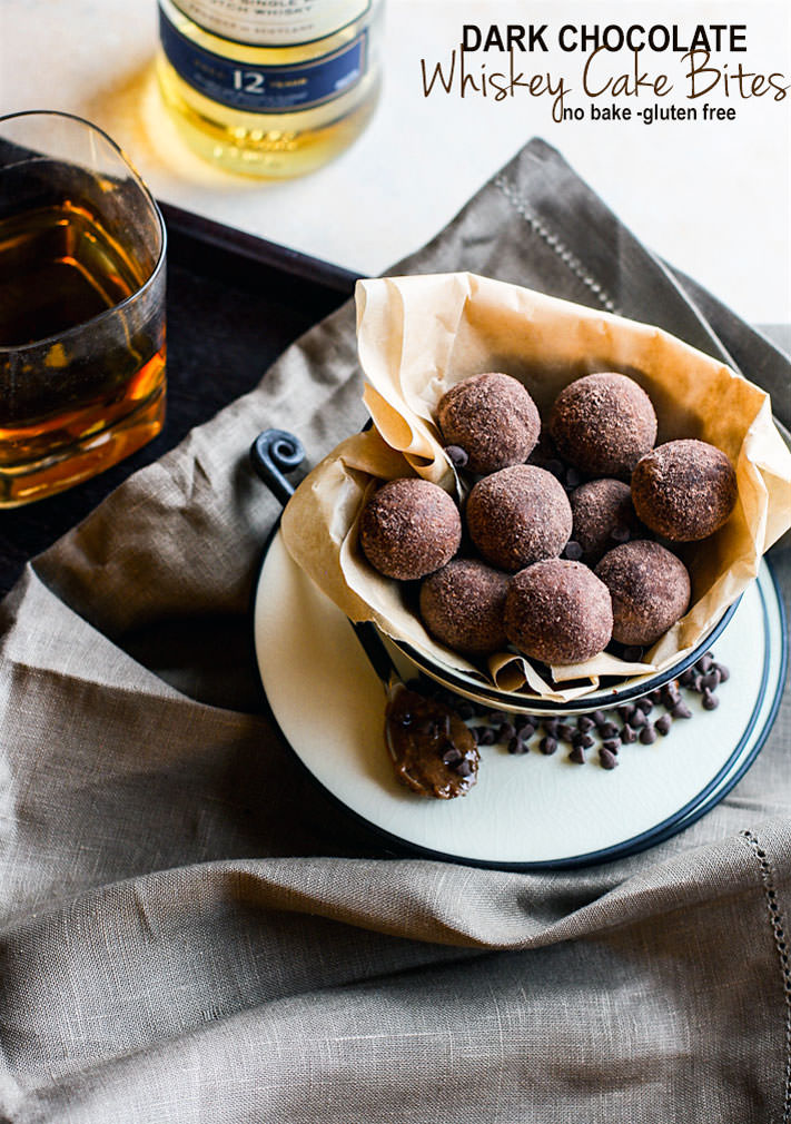 No Bake Dark Chocolate Whiskey Cake Bites!! These rich and decadent dark chocolate whiskey cake bites are so delicious and simple to make with REAL ingredients. Gluten free and non alcoholic versions as well. Great for dessert or fun party snacks. Cheers!
