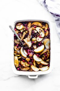 casserole dish of spiced hot fruit bake
