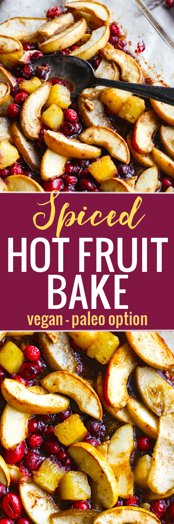 Spiced Hot Fruit Bake is a delicious and healthy holiday breakfast! This gluten free spiced hot fruit bake also makes for a great topping for waffles, pancakes, or simply by itself!