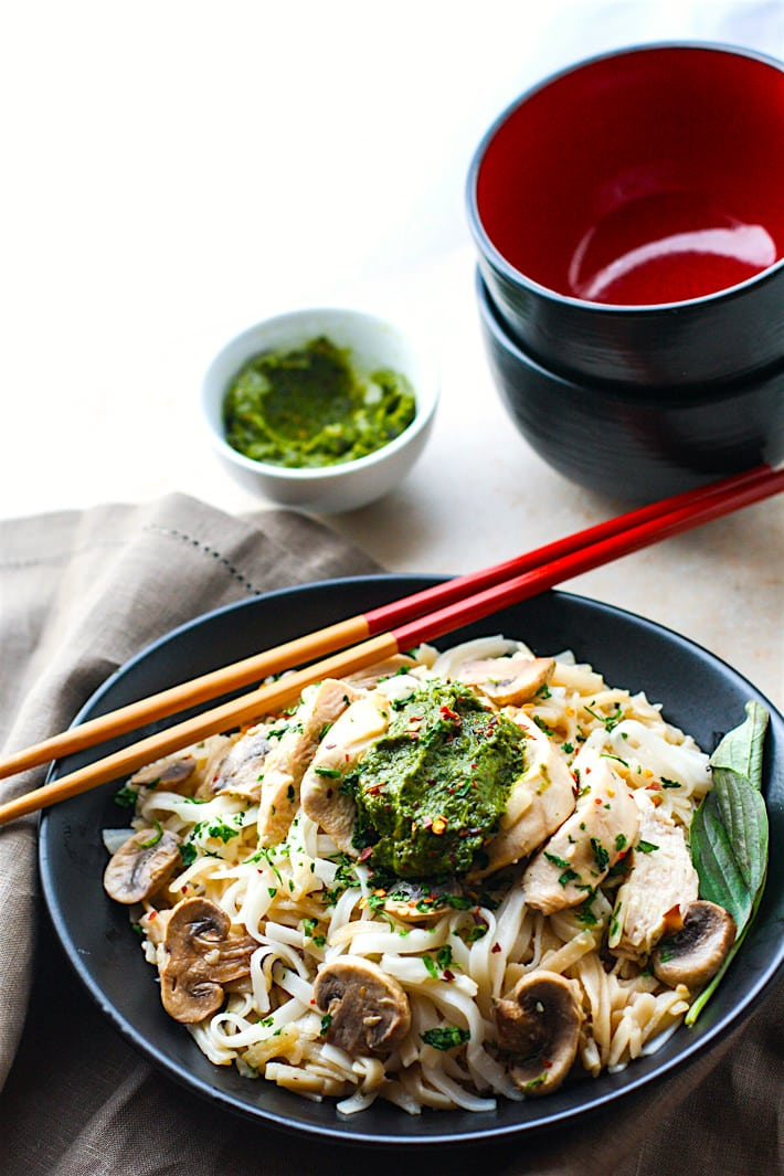 Spicy Thai Pesto Chicken Noodle Bowls! These gluten free noodle bowls are delicious and easy to make! The thai pesto bring a kick of flavor and a dose of Healthy antioxidants! A dairy free dinner that's ready in less than 45 minutes and great for a hungry crew! #glutenfree