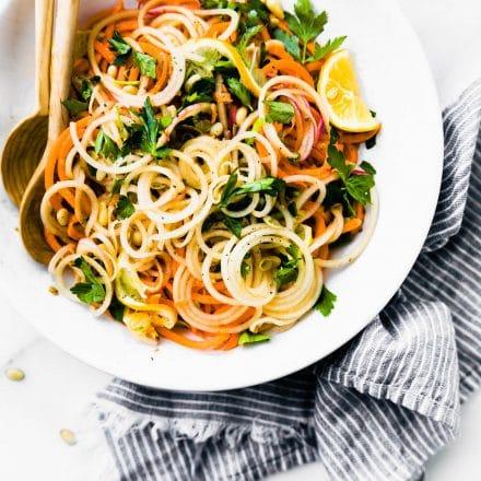 Carrot Celeriac Spiralized Salad {Vegan, Paleo}