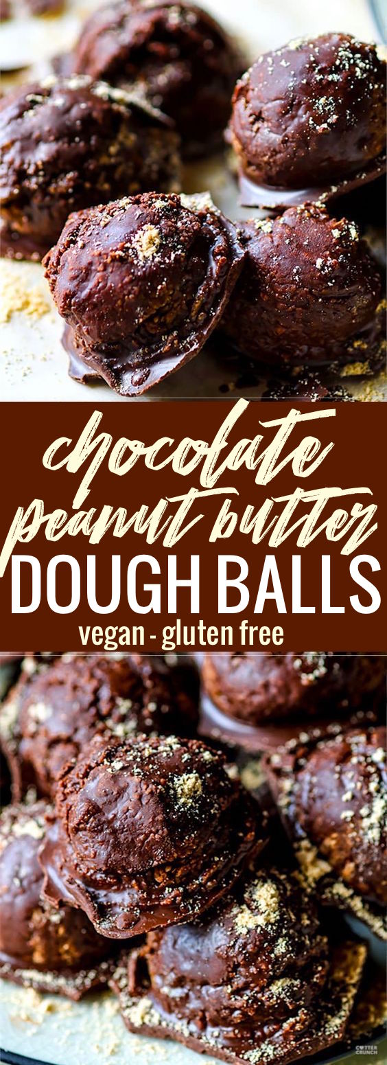 Peanut Butter Dough Balls baked with hidden veggies, then covered in chocolate! These vegan and gluten free peanut butter dough balls are coated in a dark chocolate magic shell, and no one will ever know they are good for you! They're amazingly delicious, packed full of fiber, hidden veggies (sweet potato) and natural sugars! Easy to make, ready in under 45 minutes, and loved by ALL! www.cottercrunch.com #vegan #chocolate #glutenfree