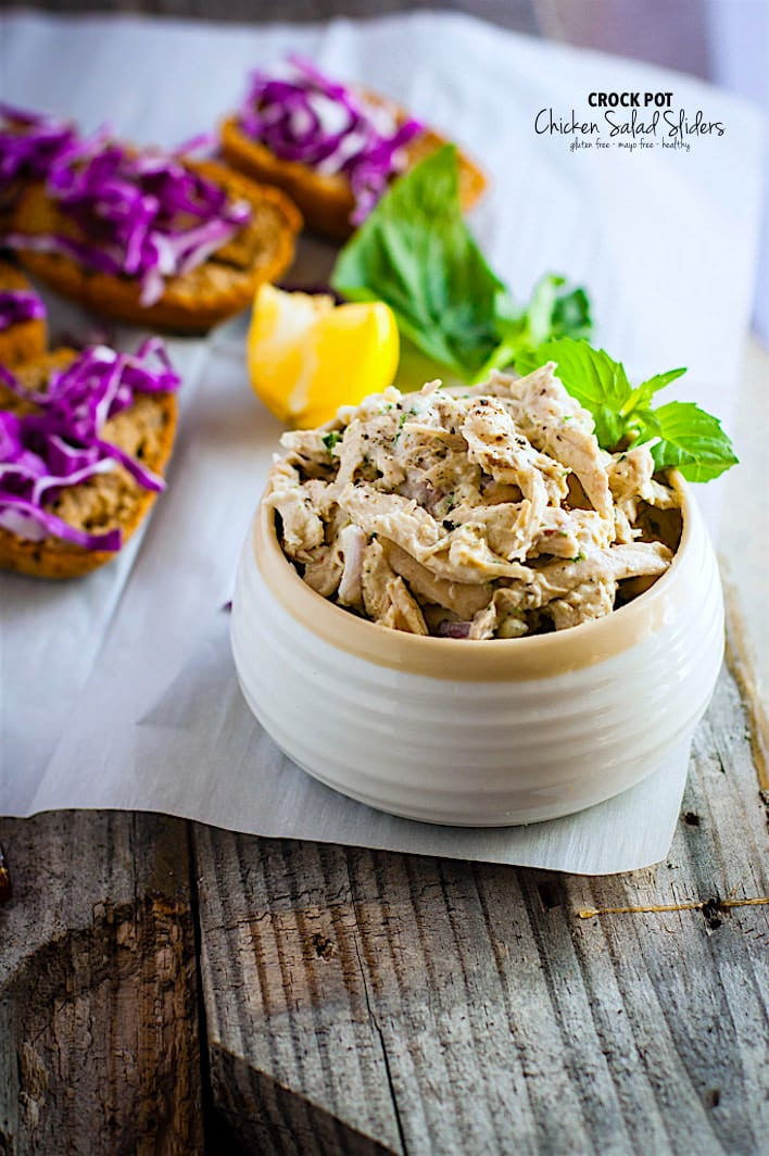 Gluten Free Crock Pot Chicken Salad Sandwich Sliders! Tangy Crock Pot Chicken Salad on open faced sandwich sliders! These crock pot chicken recipe is healthy, easy, mayo free, and egg free ! So good for a quick meal, light lunch, appetizer, or food prep meal!