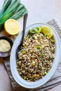 Honey Toasted Pine Nut and Leek Quinoa Salad {Gluten Free}