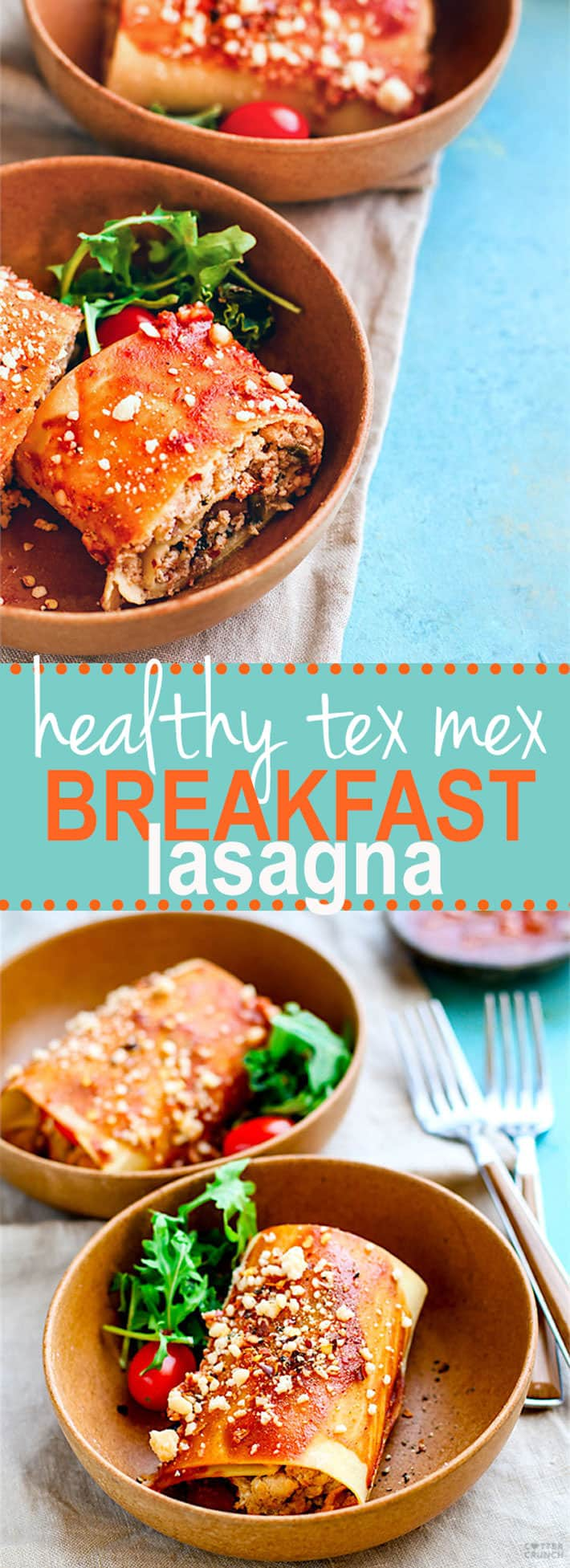 Healthy Tex Mex Breakfast Lasagna. A Gluten Free Tex Mex Breakfast Lasagna that is perfect for any meal! Easy to make, packed with protein, freezer friendly, vegetarian friendly!
