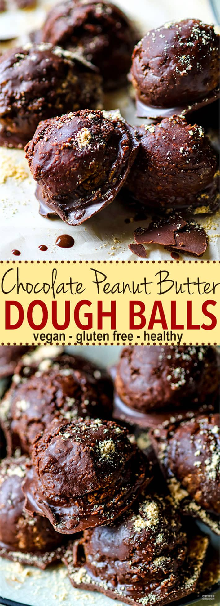 Vegan Chocolate Peanut Butter Dough Balls with hidden Veggies. Gluten Free Peanut Butter dough coated in a dark chocolate magic shell and amazingly delicious! No one will ever know they are good for you, packed full of fiber, veggies, and natural sugars! Easy to make, ready in under 45 minutes, and loved by ALL! @cottercrunch