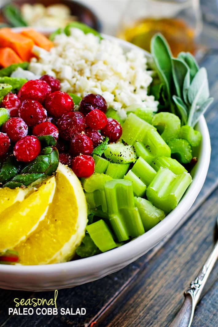 Winter's Bounty Paleo Cobb Salad! Take advantage of seasonal produce and make this healthy Paleo Cobb Salad ! It's packed with, flavor, protein, healthy fats, and LOADS of seasonal fruits and veggies! You'll love how easy and delicious is to make for one or for the whole family. Easy to make vegan friendly as well.