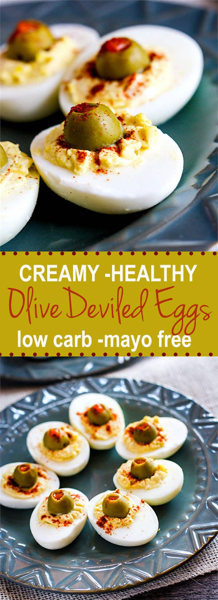 creamy greek yogurt deviled eggs with olives. Super healthy, mayo free, low carb, and delicious! Great for snacks, appetizers, brunch, and more! Rich in Vitamin D, Calcium, and healthy fats! YUM! www.cottercrunch.com