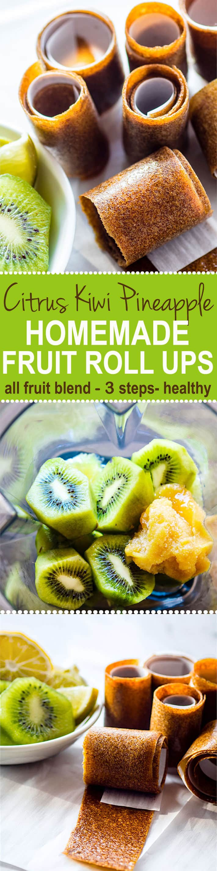 Super Simple and Healthy Citrus Kiwi Pineapple Homemade Fruit Roll Ups! These homemade fruit roll ups are an awesome snack for kids, adults, and active folk who need real food fuel! Homemade fruit rolls ups you can make in the dehydrator or oven. Real fruit based and no additives!