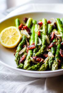 Easy Peppered Candied Bacon and Asparagus {Paleo, Gluten Free}