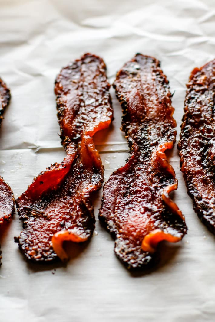 Peppered candied bacon. It's a match made in heaven with Easy Peppered Candied Bacon and Asparagus It's paleo, gluten free, and super simple to make!