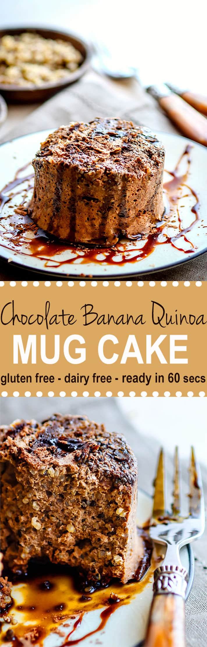 Super Simple Chocolate Banana Quinoa Microwave Mug Cake! A delicious gluten Free and dairy Free effortless One Minute Mug Cake that will leave you feeling nourished and energized! A great snack, breakfast, or dessert! Made with real food, real fast.