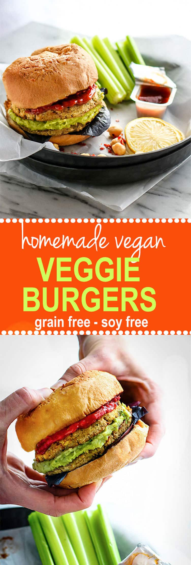 Freezer Friendly Soy Free Vegan Veggie Burgers. Gluten free Homemade Vegan Veggie burgers made with grain free veggie packed patties! Simple Real food ingredients, easy to make, and super delicious!
