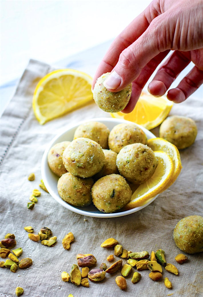 No Bake Lemon Pistachio Shortbread Cookie Bites! Vegan and Paleo friendly Bites that taste just like Shortbread Cookie but are actually good for you! Super easy to make, refreshing, light, and naturally gluten free!