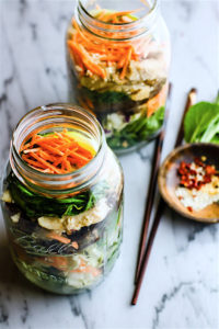 mason jar salads made with gluten free leftovers