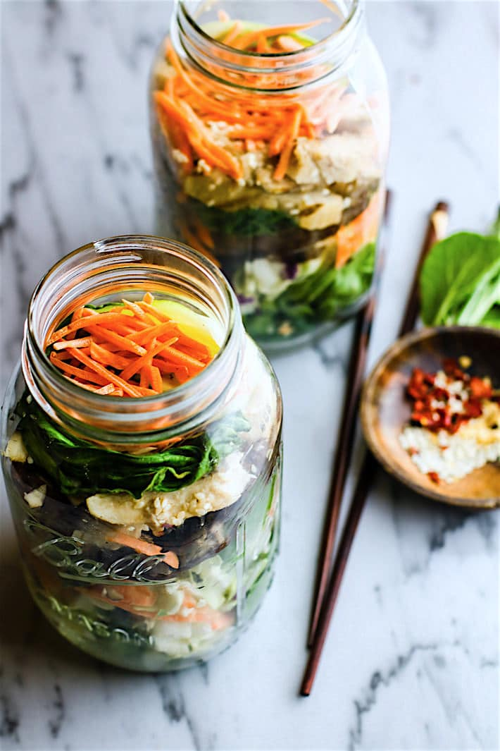 oriential chicken mason jar salads