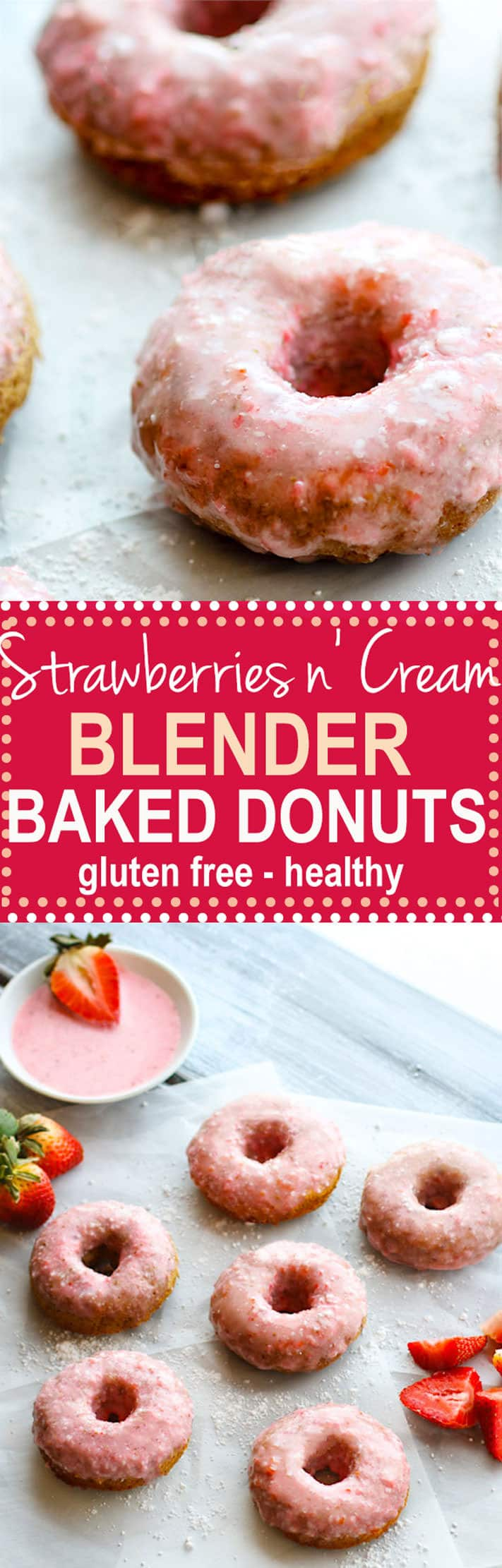 Strawberries N Cream Blender Baked Donuts Gluten Free
