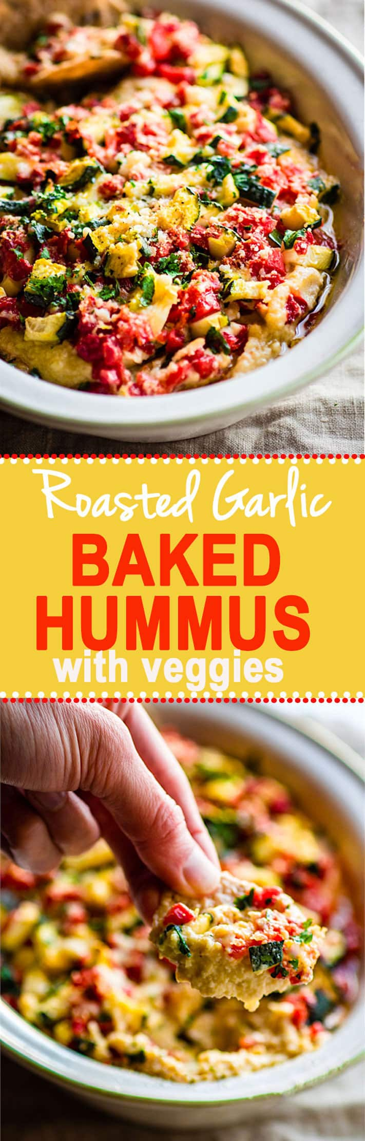 Easy Parmesan and Roasted Garlic Baked Hummus Dip with Zucchini and Pimentos! A super simple gluten free baked hummus dip recipe that feeds a crowd! So delicious, healthy, veggie packed, and makes for a great snack or appetizer. @COTTERCRUNCH