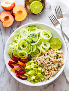 Power Lunch Asian Crab and Avocado Spiralized Cucumber Salad {Paleo, Gluten Free}
