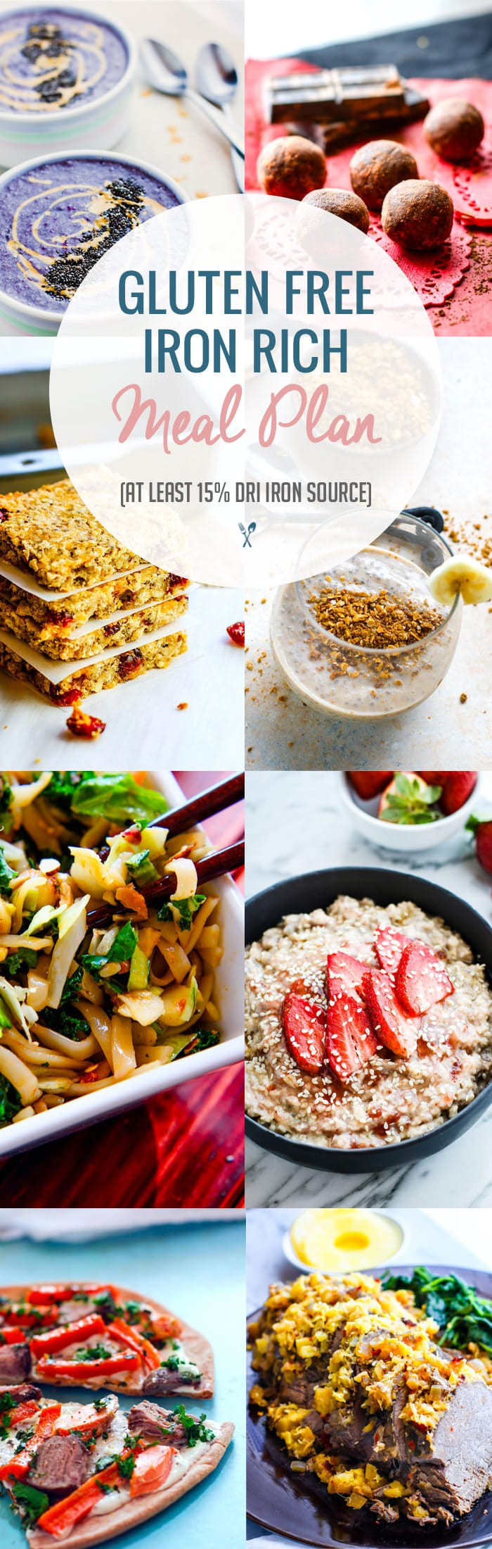 Iron Rich Healthy Gluten Free Meal Plan Ideas! Snacks and Meals with at Least 15% DRI Iron and loaded with Vitamin C to help with absorption. Easy gluten free meal plan ideas to boost your health!