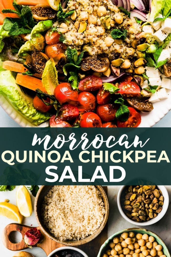 MOROCCAN SALAD recipe with chickpeas and quinoa! This zippy healthy salad is far from boring. Layers of quinoa, spiced chickpea, dried fruit, pistachios, feta cheese, and vegetables. Great to serve as a gluten free and vegetarian main meal or side dish. #mealprep #salad #vegetarian #healthy #glutenfree