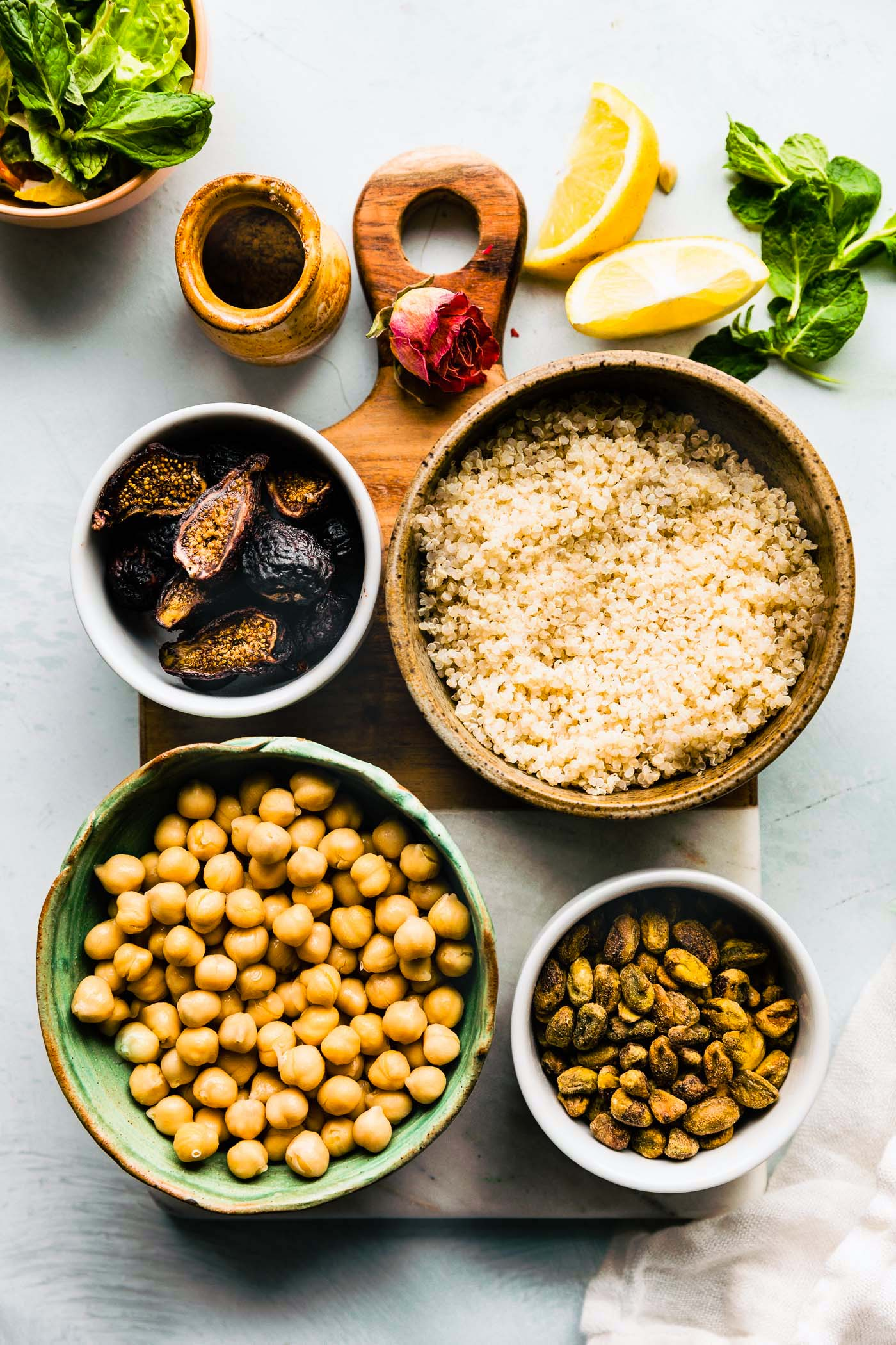 ingredients for chickpea quinoa salad