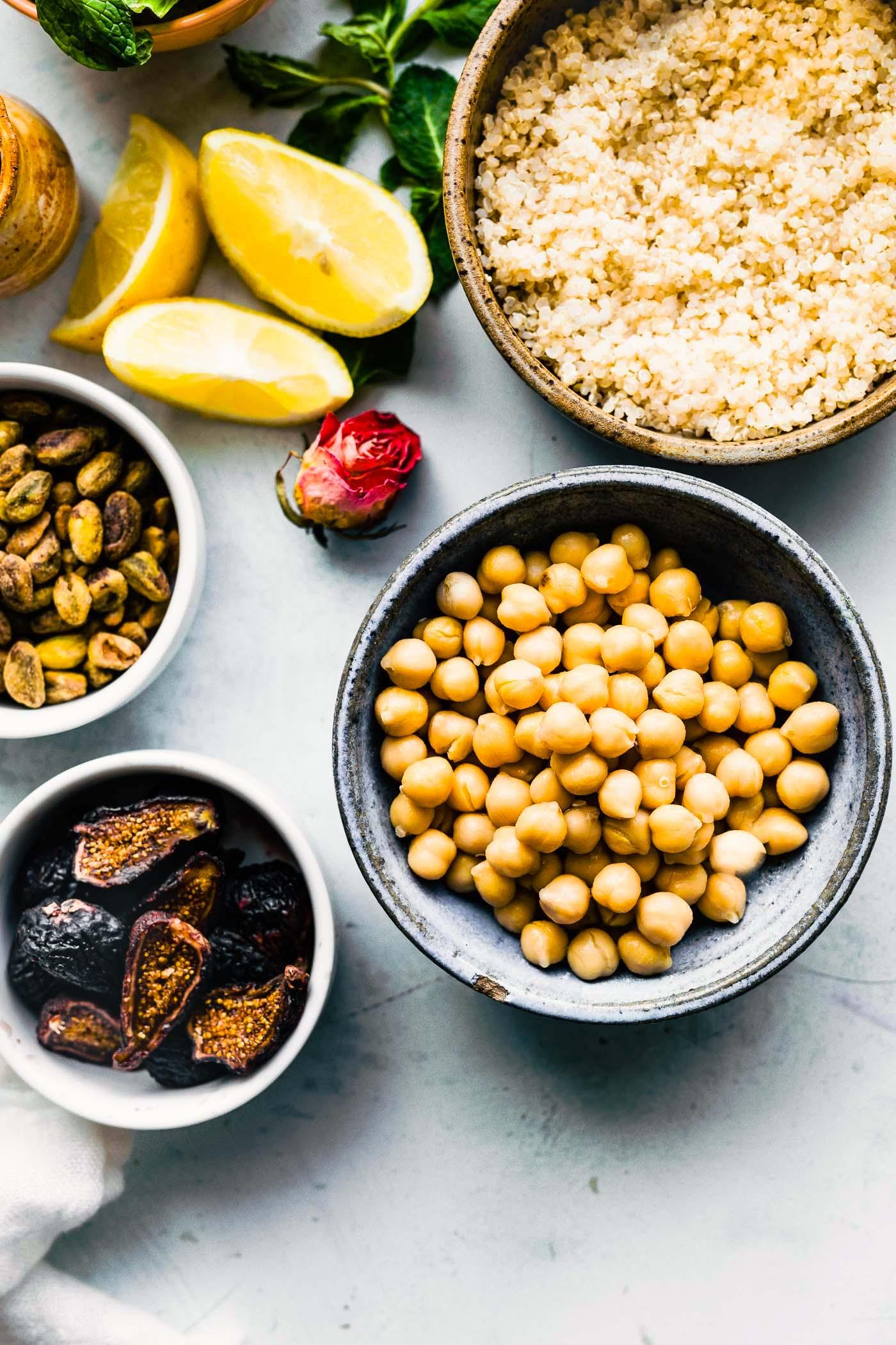 salad ingredients - chickpea and quinoa