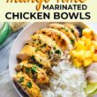 chili lime mango marinated chicken bowls pin