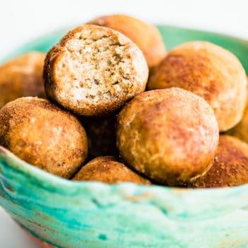 cinnamon bites in bowl - no bake protein bites