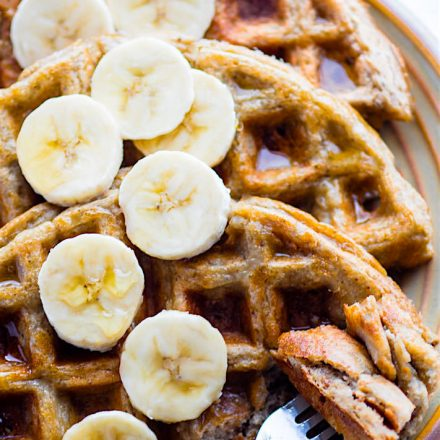 EASY Blender Rice Banana Gluten Free Waffles {Freezer Friendly, Vegan Option}