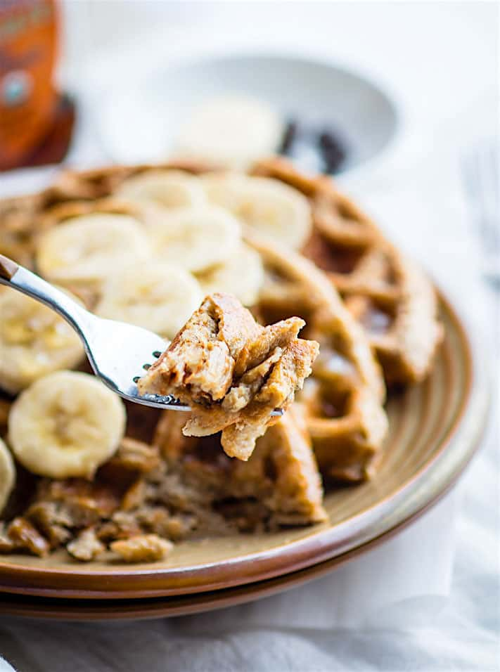 Super EASY Blender Banana Rice Gluten Free Waffles! Just blend and pour for these dairy free and gluten free Waffles. Freezer friendly, made with simple real FOOD ingredients, perfect fuel for breakfast or a delicious Weekend Breakfast. Vegan option as well!