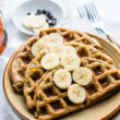 Rice and Banana gluten free Waffles topped with sliced bananas