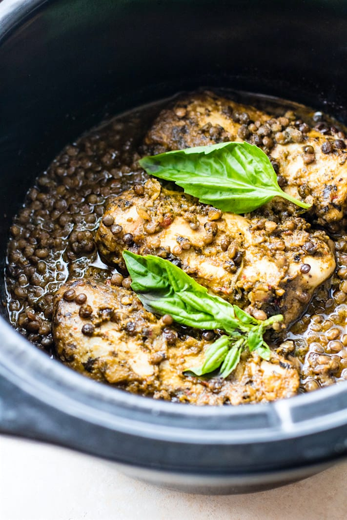 Crock pot Garlicky green chicken and lentils (gluten free)