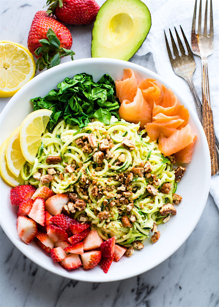 Smoked Salmon and Strawberry Zucchini Noodle Pasta Salad! A healthy lower carbZucchini noodle pasta salad witha creamyavocado sauce and paired with the freshstrawberries, spinach, and smoked salmon. This gluten free Salad bowl is perfectfor aspring or summer lunch or side dish.
